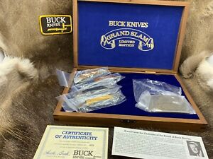1981 Buck Grand Slam Lockback Knife Collection In Wood Display Case - Mint /Rare