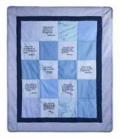 Bible Verse Baby Blue Quilt Beautiful Cotton Blanket Embroidered with Scriptures