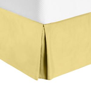"""Luxury Pleated Tailored Bed Skirt - 14"""" Drop Dust Ruffle, Full XL-Custard Yellow"""