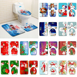 3pcs/set Merry Christmas Bathroom Mat Anti Slip Kitchen Bath Floor Rug Carpet