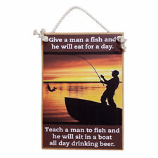 Country Printed Quality Wooden Sign Give A Man A Fish Plaque New