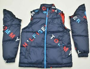 $230 TOMMY HILFIGER SPELL OUT PUFFER PRIMALOFT JACKET CONVERTIBLE VEST S M XL