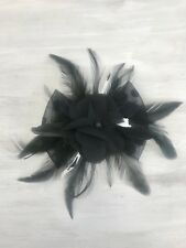 Ladies Black And White Feathers Wedding Party Fascinator Hair Clip