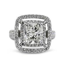14KT White Gold Cushion Cut Diamond Engagement & Wedding Ring Certified 3.10CT