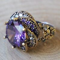 Turkish Handmade Jewelry Sterling Silver 925 Amethyst Ring Size 6 7 8 9