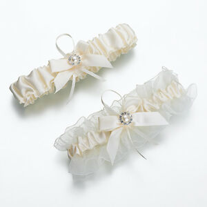 Ivory Pearl Toss and Keep Garters Bride Wedding Bridal Garter Set