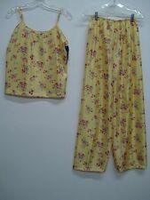 USA Made Nancy King Lingerie Long Pajama Sleepwear Size 2X Yellow Floral #233C