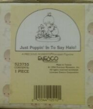 Nib 1994 Precious Moments Figurine # 523755~Just Poppin' In To Say Halo!