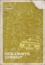 TRIUMPH DOLOMITE SPRINT (1972-80) Manuale Officina originale della fabbrica