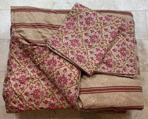 3 Pc Ralph Lauren Cotton Sateen LANGHAM/BERTRAND STRIPE Queen Comforter & Shams