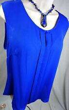 Laundry Shelli Segal Top Size Large Solid Neon Blue Loose Womens Shirt New L