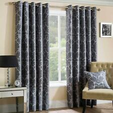 Grey Eyelet Curtains Chenille Damask Ready Made Lined Ring Top Curtain Pairs