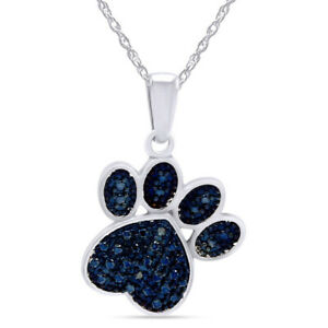 Blue Natural Diamond Paw Print Pendant Necklace In 14K White Gold Over Silver