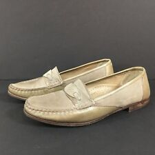 Mens Bally Leather Loafers Benny Gray / Tan Suede Trim Slip On Italy Size 10 M