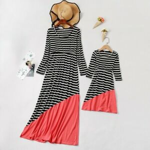 Mother Daughter Clothes Stripe Parent-child Family Outfits Summer Beach Dress