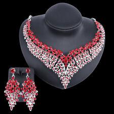 Women Bridal Full Rhinestone Statement Necklace Earring Wedding Jewelry Sets