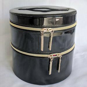 Lancome 2-Layers Round Black Train Case Cosmetic Makeup Organizer Travel Bag