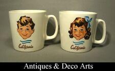 Petrus Regout Maastricht & Boch Frères 2 Vintage Keramieken Mokken California