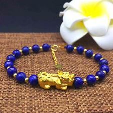 Pure 24K Yellow Gold 3D Pixiu, 18K Gold Beads and Lapis Lazuli Beads Bracelet