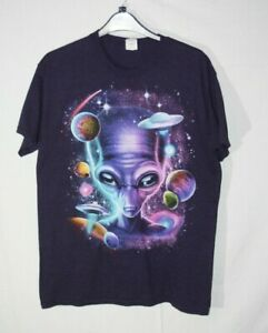 MEN Vintage Alien T Shirt UFO PLANETS PURPLE MEDIUM