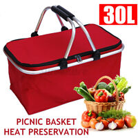 30L Insulated Picnic Basket Tote Lightweight Collapsible Warm & Cooler Bag