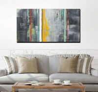 48x24 Abstract Art - Gray Yellow Black Red Turquoise - US Artist