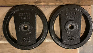 2x25 Pound Standard Weights Golds Gym Kettle Plate Barbell/dumbell 50 Lbs Total