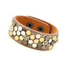 New Women's Fashion Flower Genuine Leather Cuff Bracelet with Cubic Zirconia