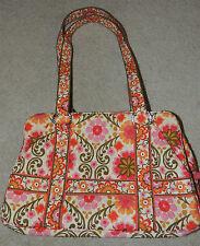 Vera Bradley Folkloric Purse Bag Tote, Two Straps, Orange, Pink, Flowers