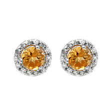 14K White Gold Round Deep Yellow Citrine & Diamond Halo Stud Earrings