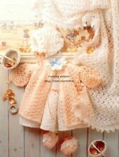 (683) 4Ply Knitting Pattern for Adorable Baby 5-Piece Lacy Layette, 14-20''