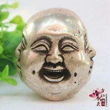 Objets de collection Tibet Argent Vieux 4 Faces Buddha Head statue