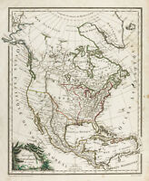 1809, Old America Map of the Nord. Lapie. Antique Map of North America, USA
