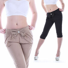 Damen Capri Hose Capri Shorts Pump Chino Yoga Caprihose Sommer Stoffhose Hüft B1