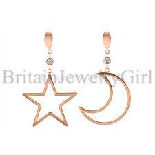 Stainless Steel Crescent Moon & Star Charm Dangle Stud Earrings for Women Girls