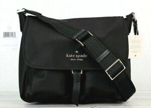 New Kate Spade Carley Messenger bag Nylon with Leather trim Black
