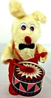 1960s Musical Bunny Rabbit with Tin Drum Wind-Up  Toy Vintage