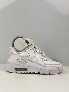 Nike Air Max 90 Girls White Leather Trainers UK Size 2