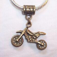Motorcycle Chopper Moped Bike Bronze Dangle Bead for European Charm Bracelets