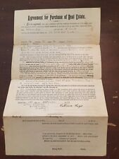 1889 State of Iowa Tama County Agreement for Purchase of Real Estate