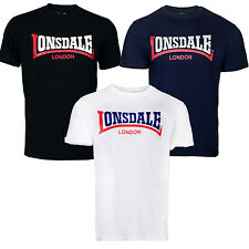 Lonsdale Two Tone T-Shirt Boxing Classic Logo Black Blue White Regular-Fit Hemd