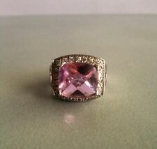 Princess Halo Engagement Ring design with Pink cubic zirconia Size 6.5