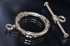 Antique Silver Rhodium Plated Over Copper Fancy Bali Style Toggle Clasp O0796