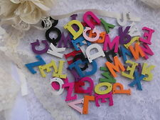 50 x Mixed wooden alphabet letters- mixed colours - Scrapbooking / embellishment