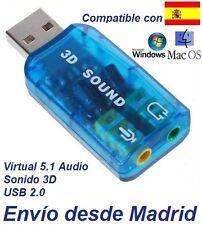 Tarjeta de Sonido USB 3D 5.1 Adaptador Audio Microfono (VIRTUAL DJ) Windows 8