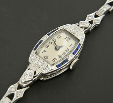Ladies Art Deco Diamond, Sapphire, 18k White Gold and Platinum Watch