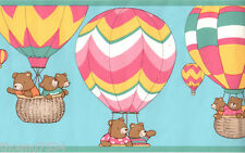 Hot Air Balloon Teddy Bear Pink Blue Baby Nursery Kid Boy Girl Wall paper Border