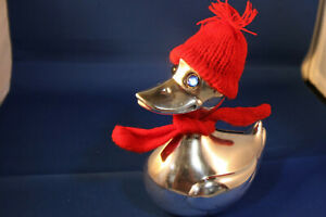"""Vintage Duck Bank w/Red Scarf & Cap Silver Plate Over 50 Years Old Denmark 5"""""""