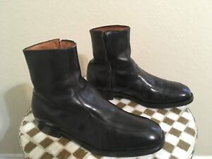 MADE IN USA BLACK LEATHER E.T. WRIGHT ZIP UP BEATLE HIPSTER DISCO BOOTS 10.5 D