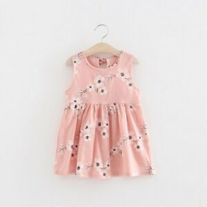 NEW Size 3-4 Years Girls Dress 100% Cotton Pink Floral Girls Dress